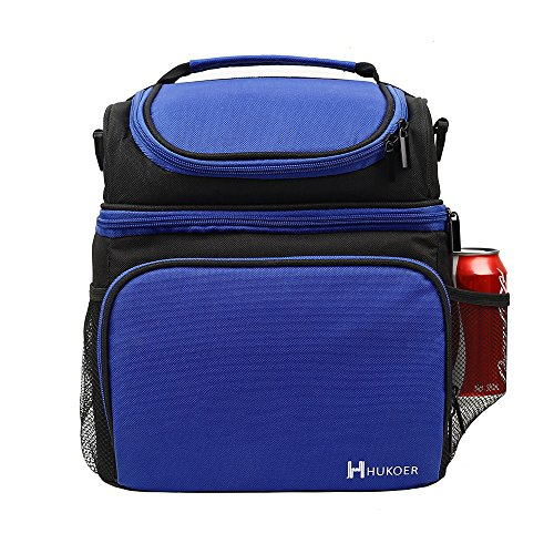 HUKOER Adult Insulated lunch bag With Adjustable Strap, Front Pocket and Side Pocket,Cooler Tote Bag double-Sewn Polyester with Zip Closures(Blue) for Work,Outdoor picnic,school