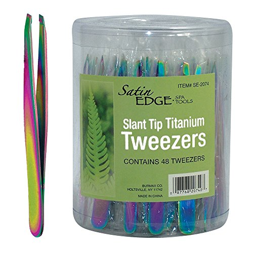 Satin Edge Slant Tip Titanium Tweezers, 0.90 Ounce
