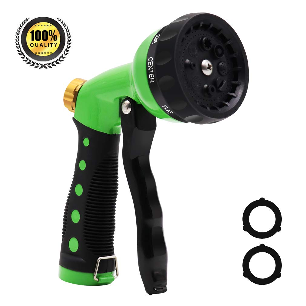 Garden Hose Nozzle, Hand Sprayer Nozzle, Metal Water Nozzle with Heavy Duty Leak Free 8 Patterns High Pressure, Pistol Grip Front Trigger for Watering Lawn, Plants, Washing Cars and Showering Pets