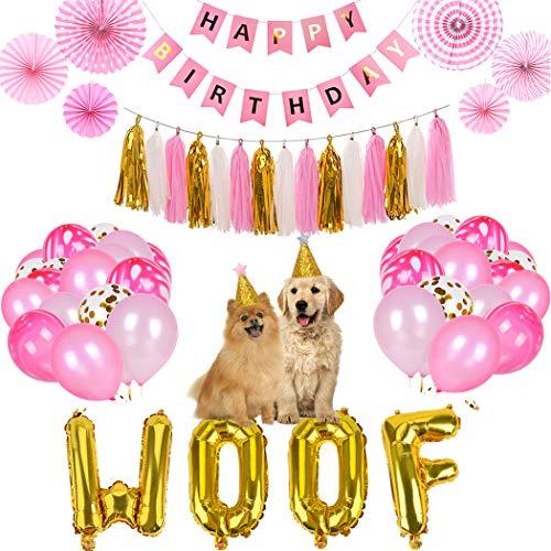 Legendog Premium Dog Cat Birthday Party Supplies with Dog Birthday Hat, Dog Girl or Boy Birthday Party Decorations, Woof Balloons Happy Pet Birthday Party -