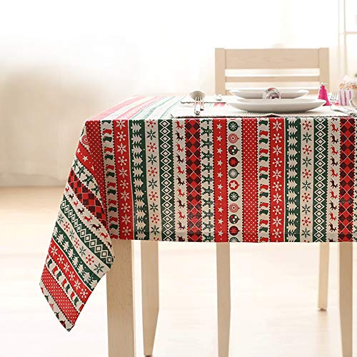 KIMODE Christmas Tablecloth Cotton Linen Red Table Cloths Machine Washable Large Xmas Cane Printed Dining Table Cover Protective Square Kitchen Rectangular for Holiday Decor (54 x 72 Inch, Red Stripe) -