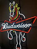 Desung New 24''x20'' Budweiser Clydesdale Horse Neon Sign (Multiple Sizes Available) Man Cave Signs Sports Bar Pub Beer Neon Lights Lamp Glass Neon Light DX214