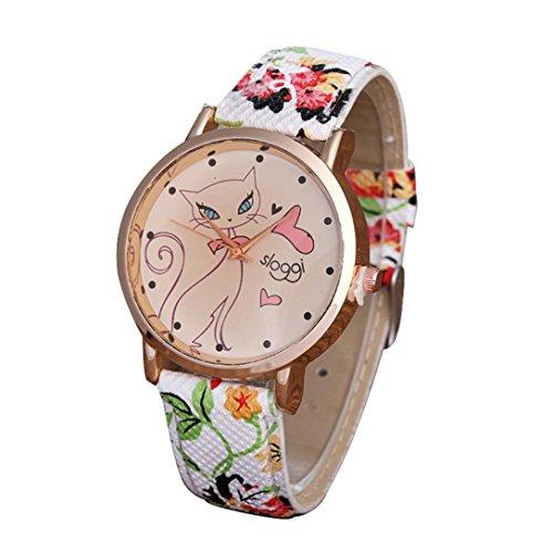 Price comparison product image AMA(TM) Women Fashion Cute Cartoon Cat Leather Quartz Wrist Watch Xmas Gifts (Green)