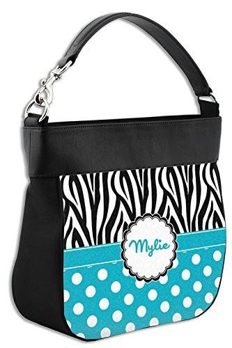 Personalized Genuine Purse Hobo w Leather Back Zebra amp; Trim Dots Front amp; xqatAPXw7E