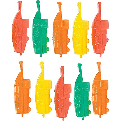 (Plastic Train Whistles 4 Inches - Pack of 10 - Assorted Colors Locomotive Train Shaped Whistles - for Kids Great Party Favors, Bag Stuffers, Fun, Toy, Gift, Prize, Piñata Fillers - by Kidsco)