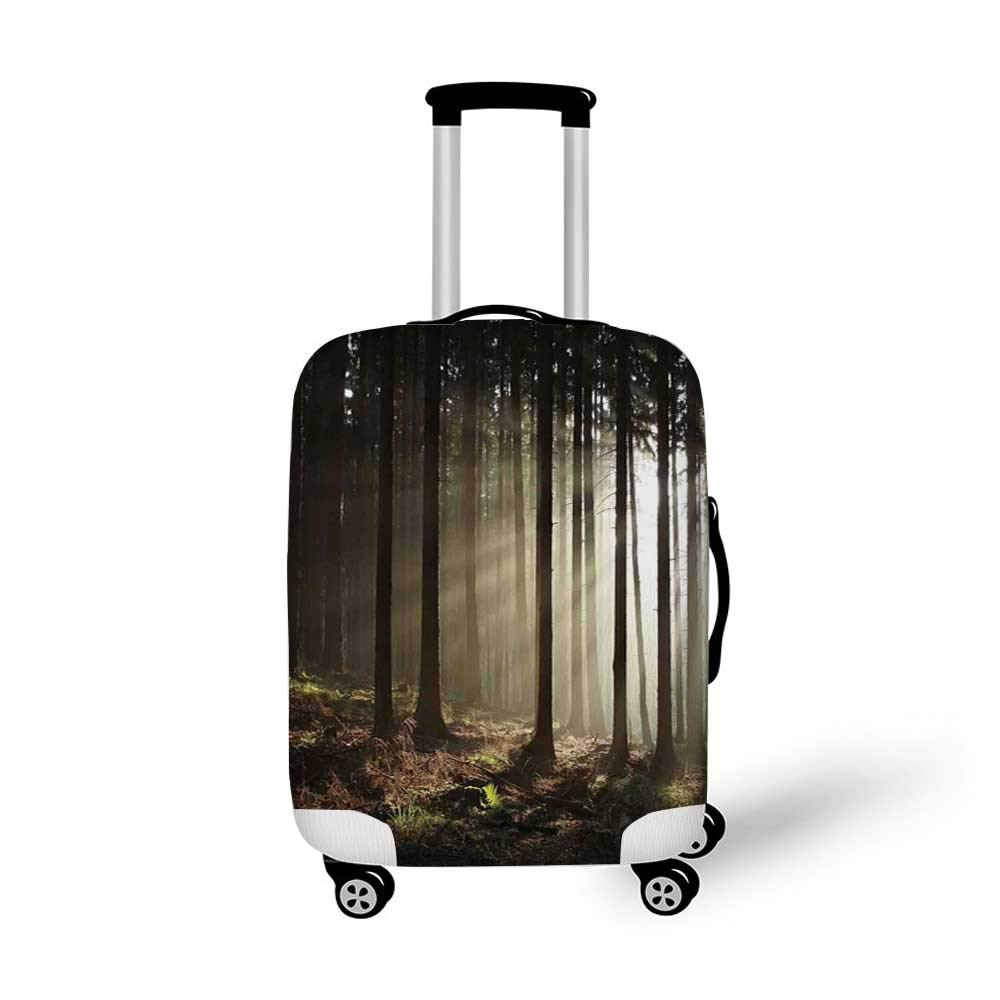 Farm House Decor Stylish Luggage Cover,Sunny Spring Season Day Pier View in Countryside Rural Cottage Nature Image for Luggage,L 26.3W x 30.7H