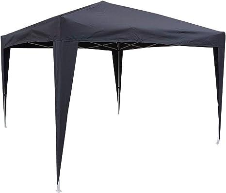 Hosa - Carpa Plegable Acero 3 x 3 m Negra - Cenador Gazebo para ...