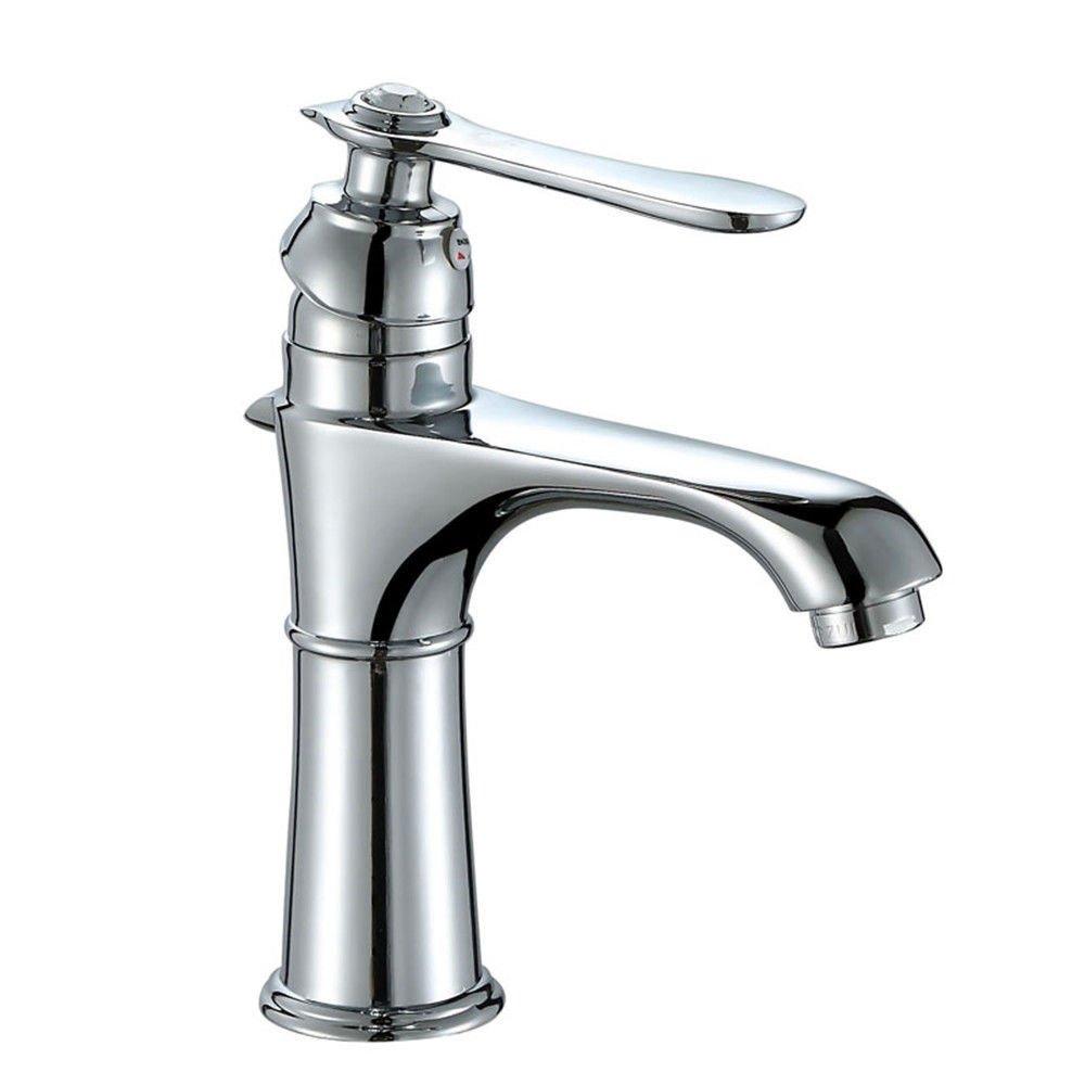 ANNTYE Waschtischarmatur Bad Mischbatterie Badarmatur Waschbecken Warmes und kaltes Wasser Messing Ventil einzelne Bohrung Badezimmer Waschtischmischer