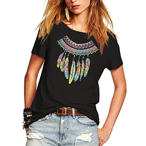Weigou Woman T Shirt Color Block Feather Necklace Printed Short Sleeve T-Shirts Tops Casual Junior Tops Tees (L, Black)