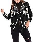 Womens Long Sleeve Cardigans Tassel Shawl Poncho Jacket Coat(Black,M)