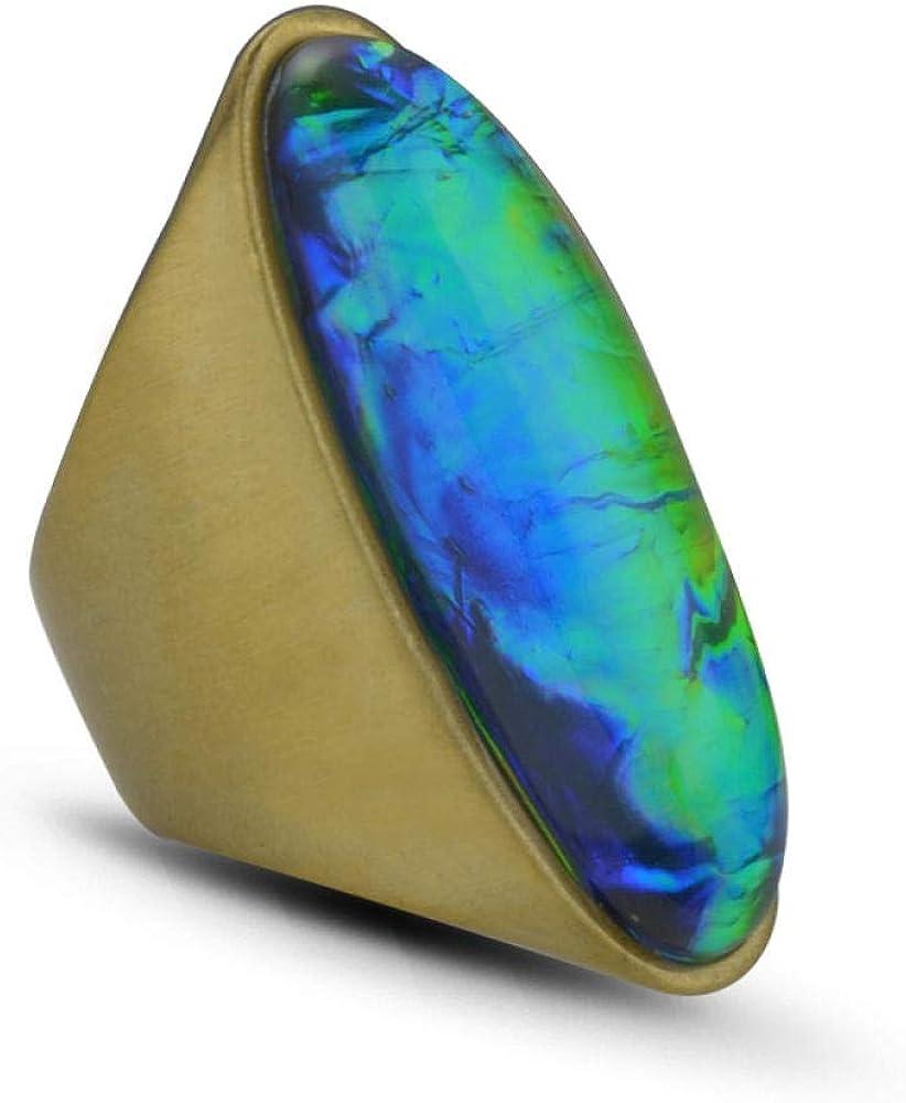 fangfaner - Anillo con Piedra Preciosa Brillante Chapado en Oro - Bronce Antiguo Cepillado/Coloreado, número 7