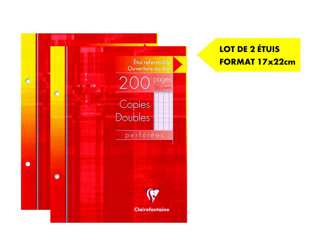 Clairefontaine Metric Set of 2 Paper Refill Pads Double Copy Large Squares 17x22cm Assorted Colours