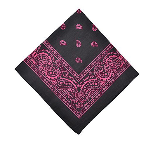 Alotpower Table Bandana Cotton Bandanas 6 Pack,Black&Hot Pink -
