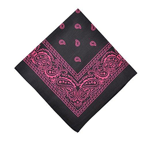 Alotpower Table Bandana Cotton Bandanas 6 Pack,Black&Hot Pink