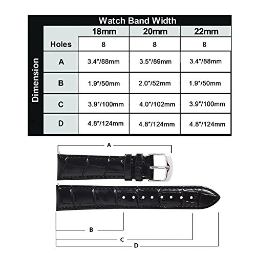 Ritche 18mm Black Brown Quick Release Genuine Leather Watch Bands Replacement Watch Strap for Men Women by Ritche (Image #6)