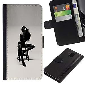 A-type (Lady Girl Woman Black White Posing) Colorida Impresión Funda Cuero Monedero Caja Bolsa Cubierta Caja Piel Card Slots Para Samsung Galaxy Note 3 III