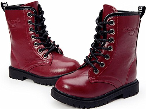 Lace Boot PPXID High Dark Fasion Martin Girl's up top Red SwEqEACn