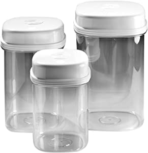 SP Ableware-753600000 Maddak One Handed Canister Set (Pack of 3), Clear, White Top