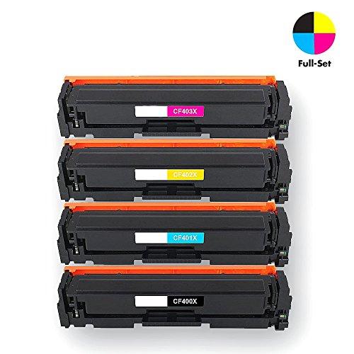 Airprint® Kompatibel CF400X CF401X CF402X CF403X 201X Toner kartusche für HP Color LaserJet Pro MFP M277dw, M252dw, MFP M277n, M252n, Hochleistungspaket 4 (Schwarz, Cyan, Gelb, Magenta)