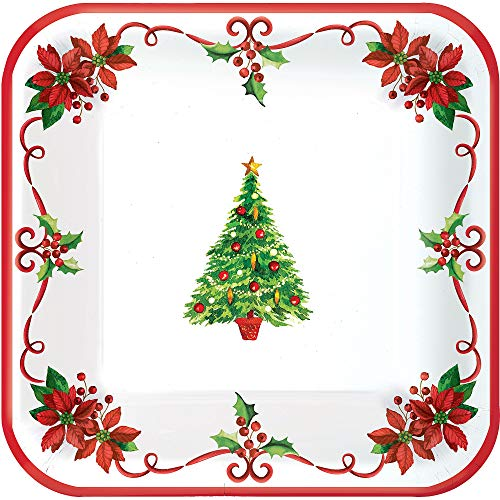 amscan Traditonal Square Paper Plates for Festive Christmas | Party Tableware -