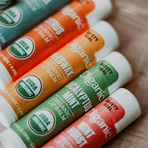 Cliganic USDA Organic Lip Balm Set - 6 Flavors - 100% Natural Moisturizer for Cracked & Dry Lips 5