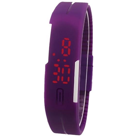 Reloj de pulsera, unisex, elegante, con pantalla táctil LED, reloj digital pulsera para mujeres, violeta: Amazon.es: Relojes