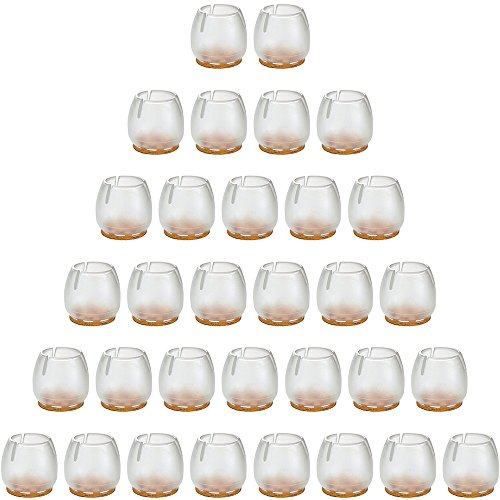 32Pack Anwenk Chair Leg Floor Protectors for 1 to 1-3/16 Inch Chair Legs,Round Silicone Chair Leg Caps Chair Leg Tip,Transparent Clear
