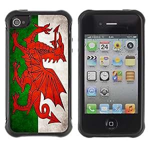 Suave TPU GEL Carcasa Funda Silicona Blando Estuche Caso de protección (para) Apple Iphone 4 / 4S / CECELL Phone case / / National Flag Nation Country Welsh /