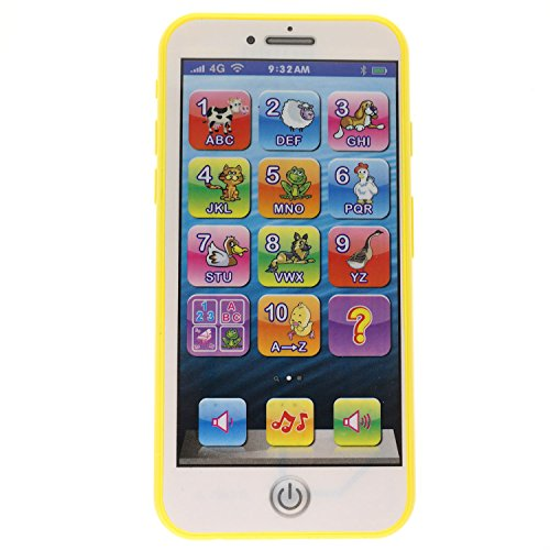 Touch Screen Phone (Cooplay Toy Yellow Mobile Music Touch Screen Cell Phone Early Education Learning Numbers ABC Letters Play Animal Cellphone like iPhone 6 7 8 for Baby Kids Sets of 1)