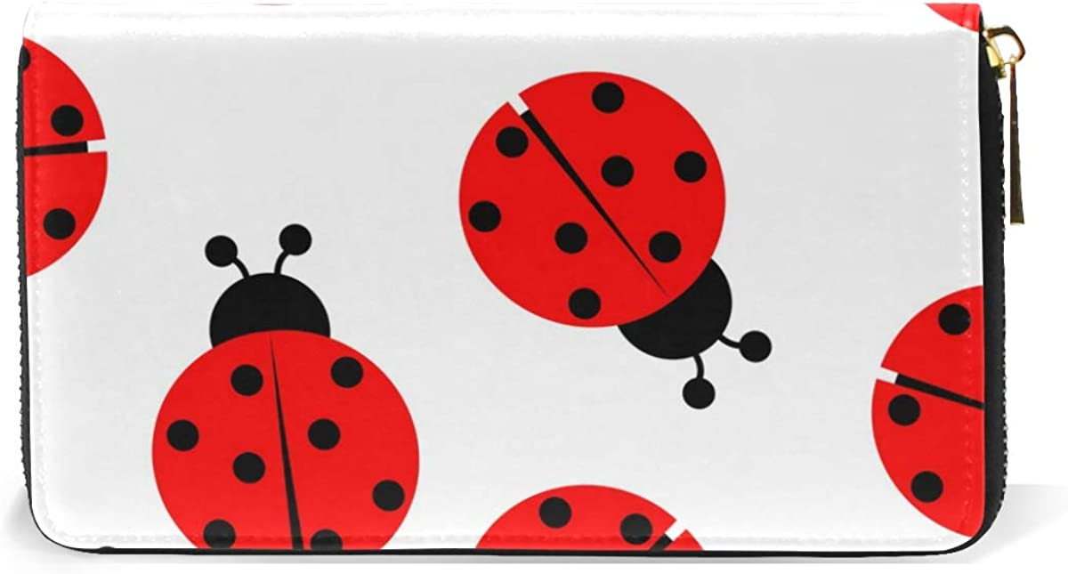 IMOBABY Women Genuine Leather Wallet Ladybug Pattern Print Long Wallet Clutch Purse with Zipper