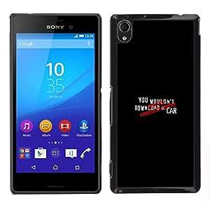 Sony Xperia M4 Aqua - Metal de aluminio y de plástico duro Caja del teléfono - Negro - You Wouldn? Download A Car