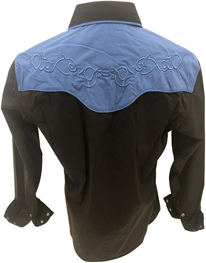 Rodeo - Camisa de Manga Larga para Hombre, Estilo Vaquero - Negro - Small: Amazon.es: Ropa y accesorios