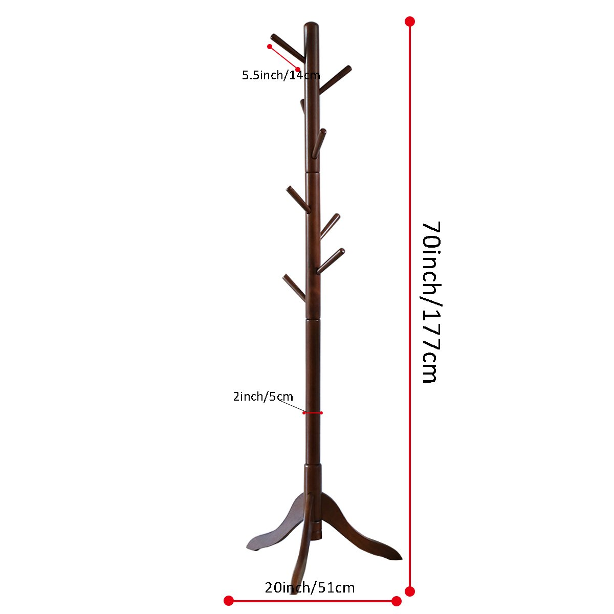 LCH Sturdy Coat Rack Solid Rubber Wood Hall Tree with Tripod Base, 8 Hooks,Also Suitable for Kids(Coffee) by LCH (Image #3)