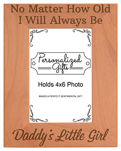ThisWear Dad Daughter Picture Frame I'll Always Be Daddy's Little Girl Dad Birth Announcement Gifts Natural Wood Engraved 4x6 Portrait Picture Frame - Daddys Little Girl Frame