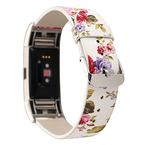 Flower Print Watch - MagicFeel Women Girls Fashion Floral Soft Leather Replacement Accessories Bands Wristband Flower Strap Compatible for Fitbit Charge 2 Smart Watch