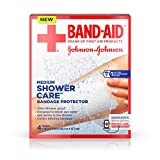 Band-Aid Brand First Aid Shower Care Clear Bandage Protector, 100% Shower Proof* Bandage Cover to Block out Water & Germs, Medium-Sized, 4 count (Pack of 6)