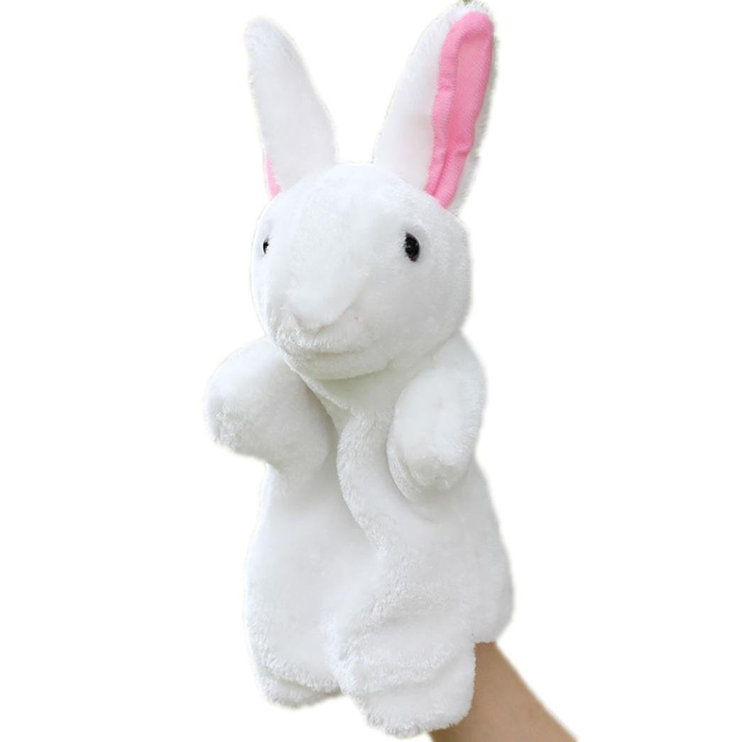 Matoen Hand Puppet Toy Cute Cartoon Animal Doll Kids Glove Rabbit Plush Bunny Finger Toys (White)
