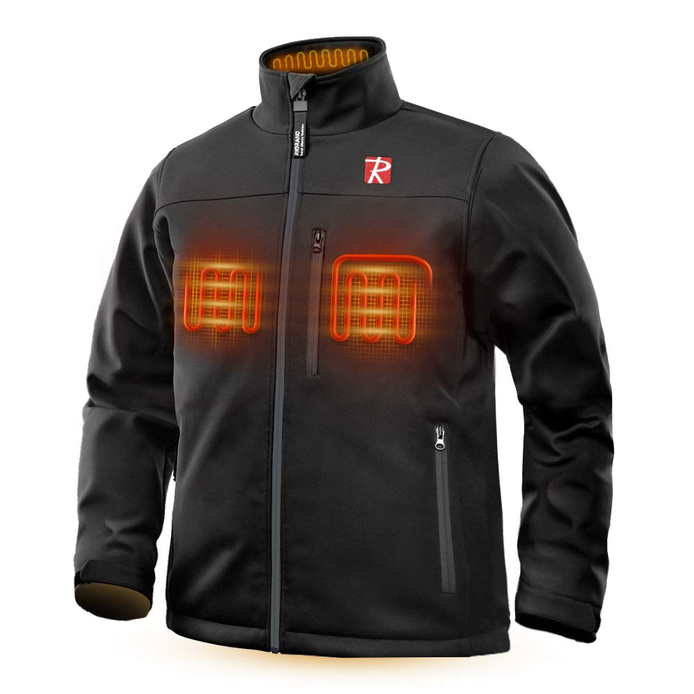 Heated Jacket for Men,Warm Jacket with 5 Heated Zone and 7.4V 10050mAh Battery Comfortable Stylish Warm Black
