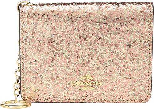 Key Metallic Ring (COACH Women's Glitter Key Ring Card Case Gd/Metallic Rose Gold One Size)