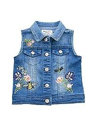 Tortor 1Bacha Kid Girls' Butterfly Flower Embroidered Denim Jacket Vest