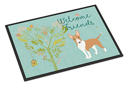 Caroline's Treasures BB7605MAT Welcome Friends Brown Bull Terrier Indoor or Outdoor Mat 18x27, 18H X 27W, Multicolor