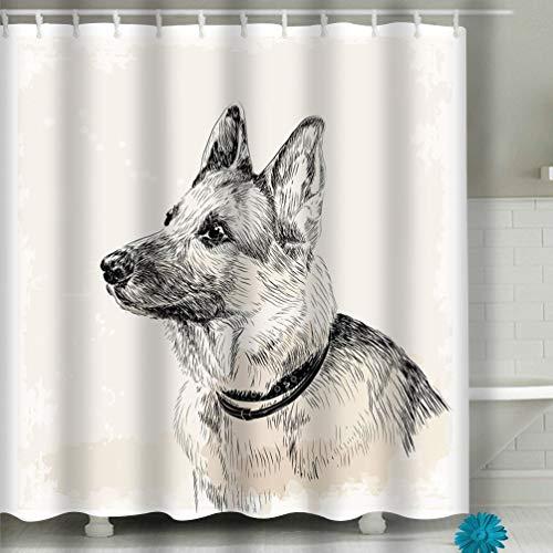(Zhizhangshpoing Shower Curtain German Shepherd Dog Ink Portrait 60 x 72 Inches)