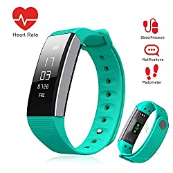 LePan Watch Smart Watch Bluetooth Blood Pressure Heart Rate Monitor Fitness Tracker Pedometer Touchscreen Sleeping Monitor Smart Bracelet Water Resistant Silicone Bands Compatible Android iOS Teal