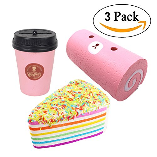 3PC Jumbo Squishy Toys, Rainbow Cake + Swiss Roll + Coffee Cup, Slow Rising Squeeze Kawaii Scented Charms, Stress Relief Toys for Kids and Adults by Bagvhandbagro[3PC]