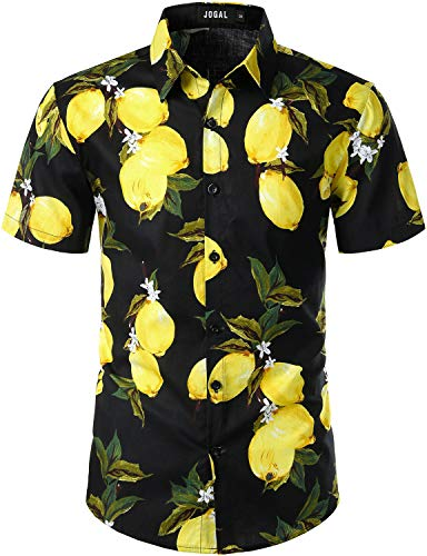JOGAL Men's Cotton Button Down Short Sleeve Hawaiian Shirt (Yellow Lemon, Medium)