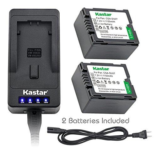 Kastar LED Super Fast Charger & Camcorder Battery X2 for Panasonic CGR-DU06 CGA-DU07 CGR-DU07 NV-GS330 GS508 MX500 PV-GS180 GS400 GS500 SDR-H48 H250 H280 VDR-D160 D308 D310 D400 M55 M70 M75 - Gs330 Nv Camcorder