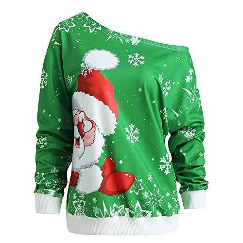 Cenglings Women Christmas Santa Claus Print Skew Collar Cold Shoulder Tops Long Sleeve Sweatshirt Blouse Ugly Sweater