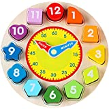 Jamohom Teaching Time Clock Shape Sorting Number Blocks Early Learning Wooden Educational Toy for Kids