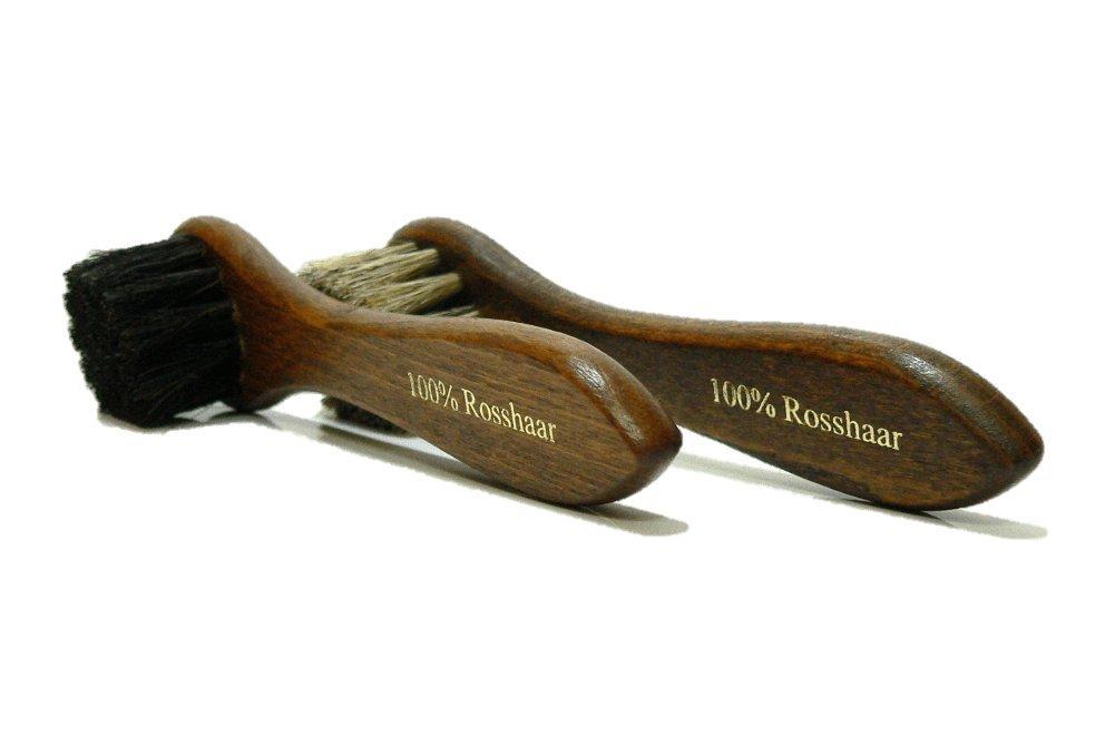 Shoe Polish Applicator Brush Set | Real Horse Hair & Hard Wood Handle | Manufactured in Germany.