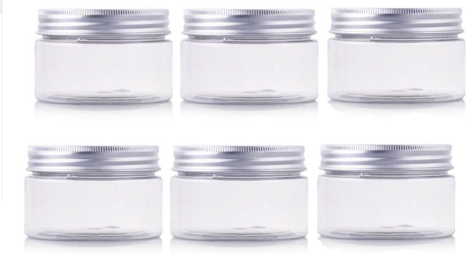 erioctryJuego de 6 recipientes vacíos de plástico PET, con tapa de aluminio plateado, 50/100/150 g, para cosméticos, cremas, maquillaje, , 100G, Transparente,, ]